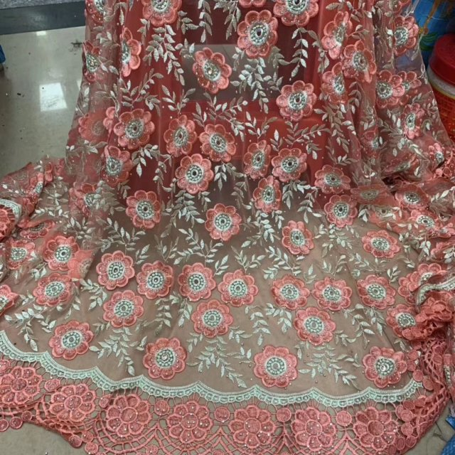 2019 High Quality 3D African Nigerian Lace Fabrics With Rhinestones, Embroidered Beautiful Flower French Net Lace, Water Soluble