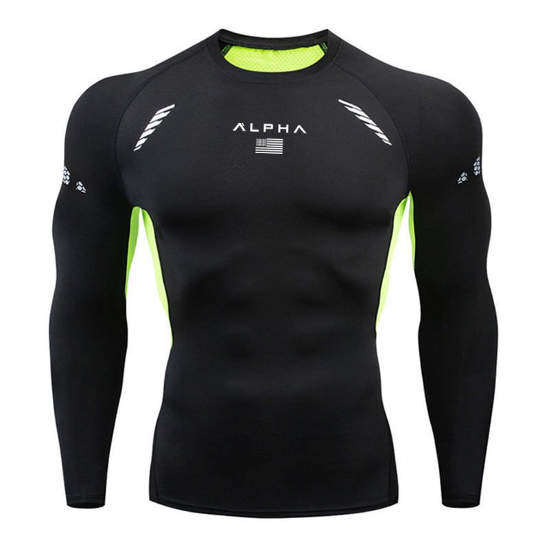 2020 Quick-Dry Gym t shirt men rashguard running tshirt 3D snake print Compression Socks Men Fitness Brand Long sleeves