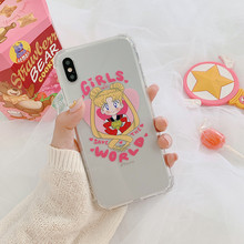 Anime Sailor Moon pink girls cute Phone case for coque iPhone 7 Plus 8 6s XS max cover silicone X XR