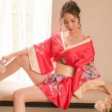 Традиционная Брендовая женская японская Пижама кимоно сексуальное глубокое кимоно с v-образным вырезом атласная Цветочная ночная рубашка с принтом короткий банный Халат