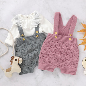 Infant Baby Pure Color Romper Newborn Baby Boy Girl Clothes Rompers 2020 Autumn Baby Boys Girls Knitted Suspender Trousers