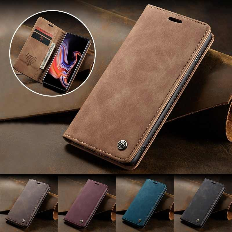 Retro Flip Leather Case for Samsung Galaxy S10 Plus S10e S9 S8 Plus S7 Edge/A20/A30/A40/A50/A70 Wallet Cover for iPhone XS Max X