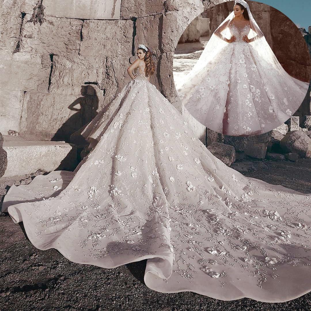 Hot Sale Real Photos Big Ball Gown Wedding Dresses Lace Wedding Dresses  Mariage Bridal Gowns Vestido De Noiva Bridal Dresses