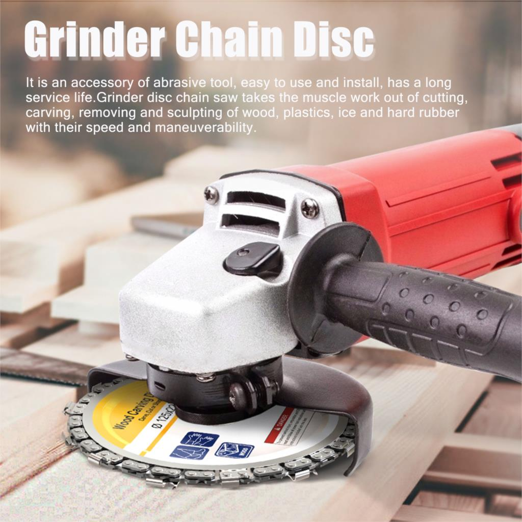 125MM 9 Tooth / 115MM 8 Tooth Chain Plate Wood Carving Disc Cutting Piece Woodworking Slotted SawBlade Grinder Chain Disc