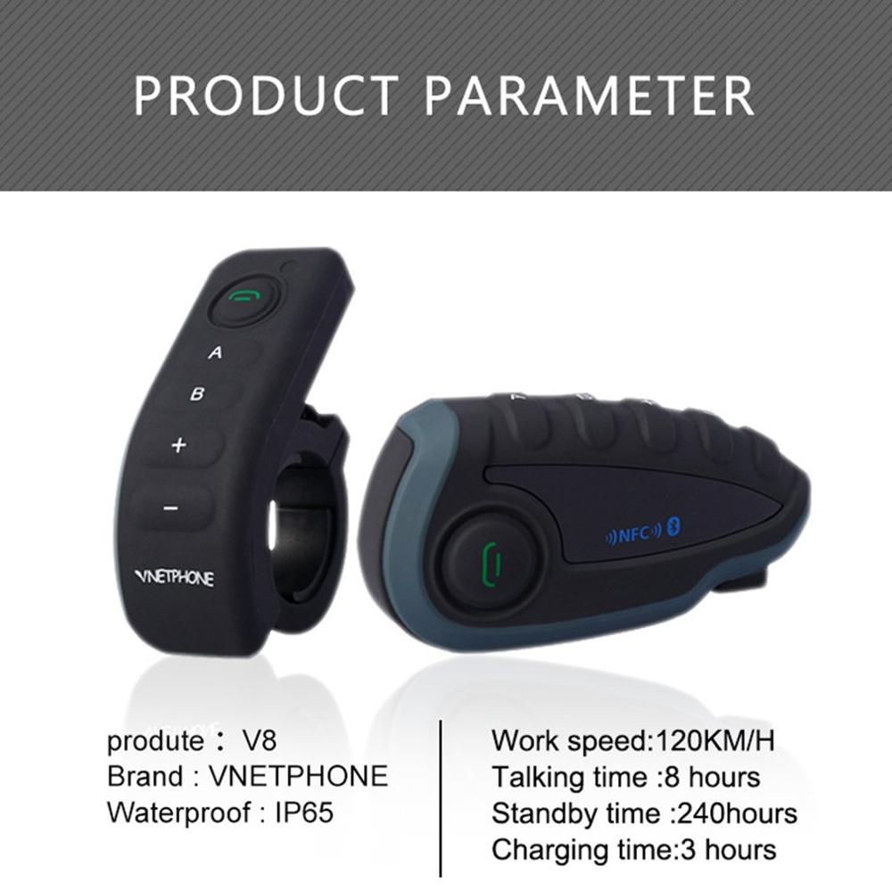 Cycling Full Duplex Walkie-talkie 5 People Smart Chip Wireless Motorcycle Helmet Walkie-talkie Fm Radio V8