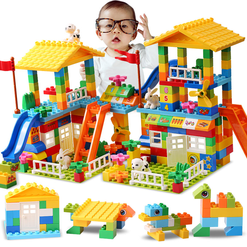 Big Particle Roof Blocks Compatible Duploed City House Big Size Slide Building Blocks Castle Brick Toys For Childre