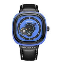 MEGIR Mens mechanical watch Fashion trend BLACK leather belt automatic mens 3012G