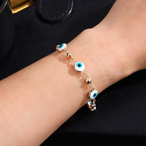 Image 4 - Gold Color Plated Blue Evil Eye Crystal Muslim Charm Islam Bracelets for Women Fashion Jewelry 3 Turkish Blue Eye Bracelet