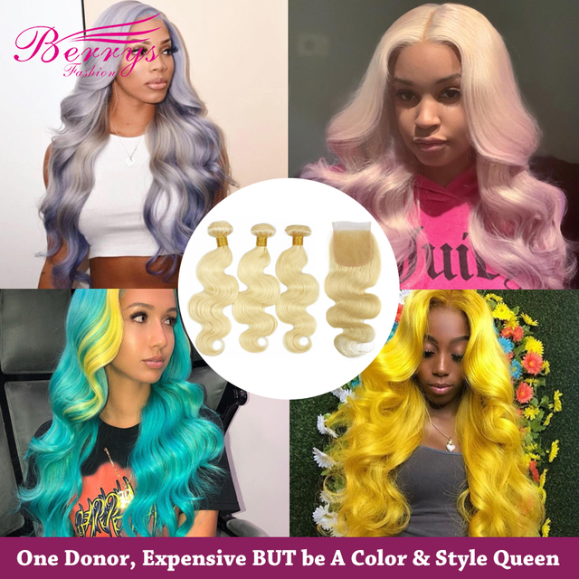 Berrys Fashion 613 Blonde Color Brazilian Body Wave 3 Bundles with Closure 100% Human Hair Weaving Remy Hair Weft Easy to Dye