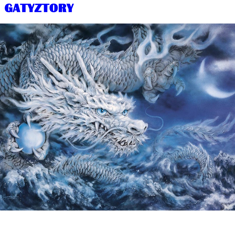 GATYZTORY Frame Oil Painting By Numbers Ice Dragon Abstract Canvas DIY Digital Painting By Numbers Handmade Gift Wall Art