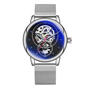 Image 4 - 男腕時計自動機械式時計の男性高級ブランドファッション中空カジュアルシルバーステンレス鋼 Whatch 時計