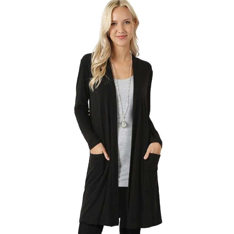 Solid Cardigan  Middle Length Women's Autumn Long Sleeved Thin Loose Coats Outwear Pocket Women's Cardigan Long 5