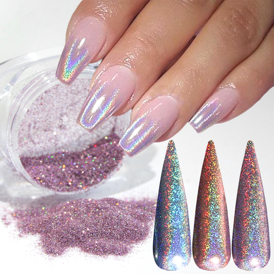 1g Nail Holographic Glitter Powder Laser Chameleon Sequin For Nail Art Gradient Shiny Polish Manicure Chrome Pigment Dust LA1028
