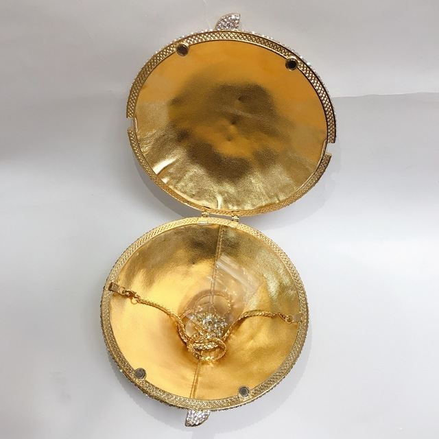 Hot ! New ! Fashion Accept Customized Colors For Women Gold Crystal Evening Bag Cone Shape Wedding Bag Bridal Handbag Small Box