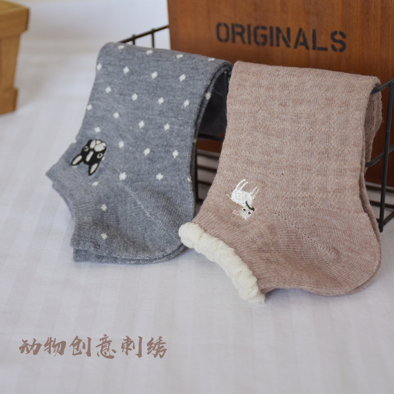 Cartoon Animal Print Socks Bull Terrier Sheep Cotton Embroidery Sock Autumn Winter Women Fashion Cute Casual Japanese Harajuku