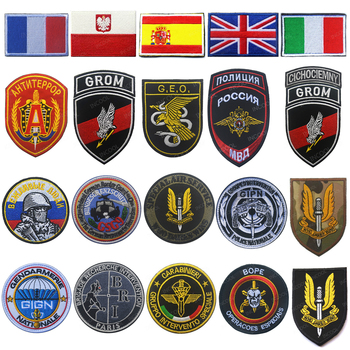 Spain France Italy Poland Russia Germany Embroidered Patches Tactical Army Military Patch Emblem Combat Embroidery Badges embroidered patches medic skull tactical military patches paramedic decorative reflective medical cross embroidery badges