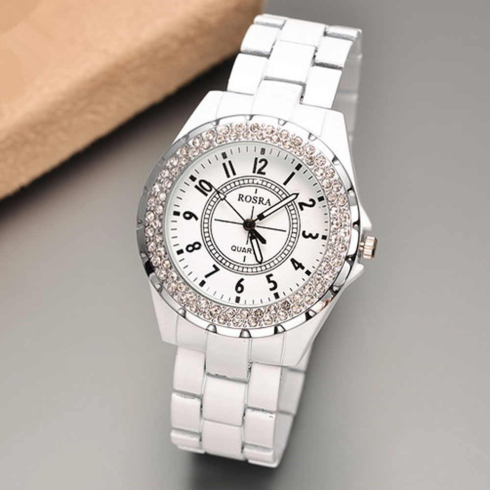2019 Luxury Women Watches Rosra Bling Rhinestone White Watches Women Ladies Watches Female Watch dames horloges montre femme