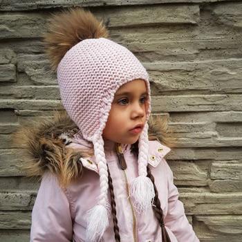 FURANDOWN Fashion Kids Beanie Winter Pompon Hats For Children Girls Knitted Wool Earflap Beanies Cap Crochet Baby Hat 2016 hot winter hat fashion brands baby girls big ball wool cute hat beanies thick warm knitted hat for 4 10yrs children