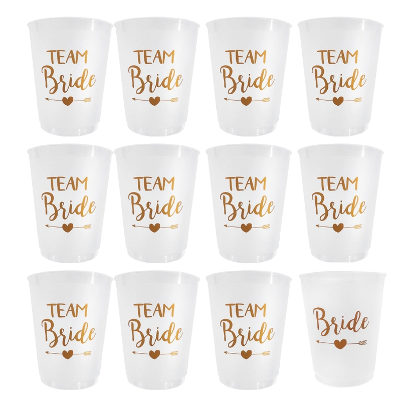 12 Pieces Bachelorette Cups Team Bride White Cups with Rose Gold Foil for Wedding, Bridal Shower, Bride to be Gift and E