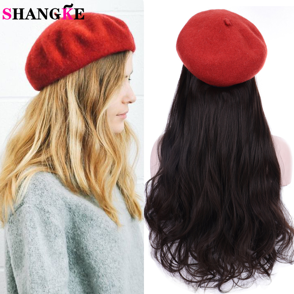 Hat Wig Baseball Cap Hat A Integrated Long Synthetic Hair Hair Extension Heat Resistant Hairpiece Natural Wavy Hair
