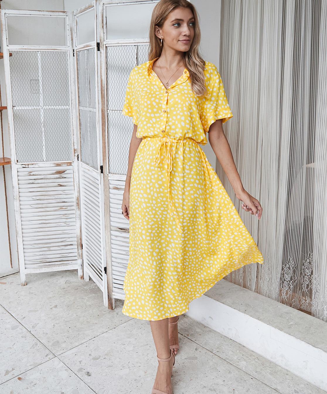 Dots Print White Short Sleeve Midi Boho Beach Dress 12