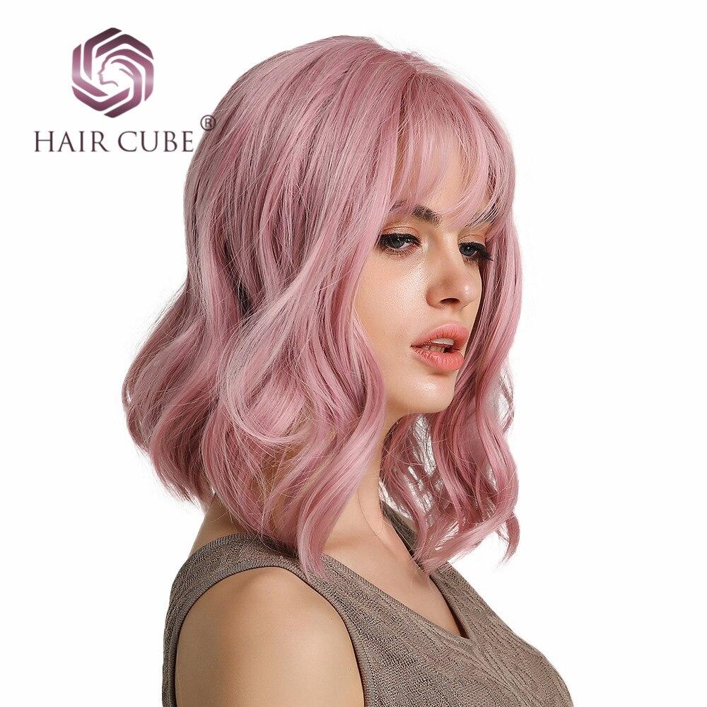 """Haircube 14 """"Synthetische Haar Rosa Farben Kurze Wasser Welle Perücken Für Weiß/Schwarz Frauen Hitzebeständige Faser Täglichen voll Falsche Haar"""
