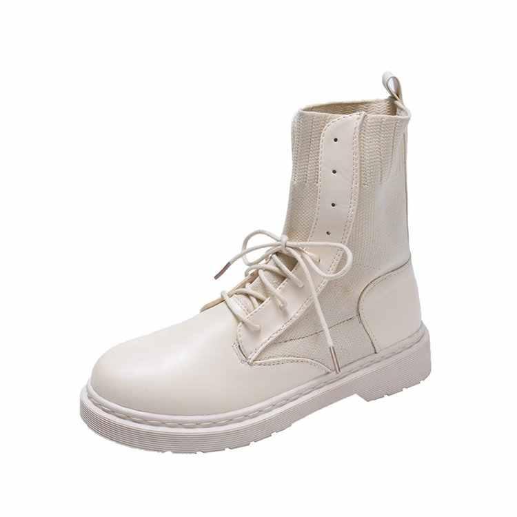 Sonbahar yeni kadın Martin çizmeler 2020 Kore versiyonu vahşi düz nefes örgü çorap boots motosiklet botları kadın