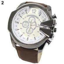 Men's Fashion Analog Sport Stainless Steel Case Faux Leather Wrist Watch Mas-cul