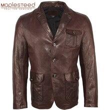 男性の革のジャケット 100% 天然なめしシープスキンソフトスリムフィットレザージャケット男性スキンコート革スーツ春秋 M463