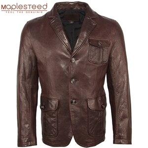 Image 1 - Männer Leder Jacke 100% Natürliche Gegerbtem Schaffell Soft Slim Fit Leder Jacke Männer Haut Mantel Leder Anzug Frühling Herbst M463