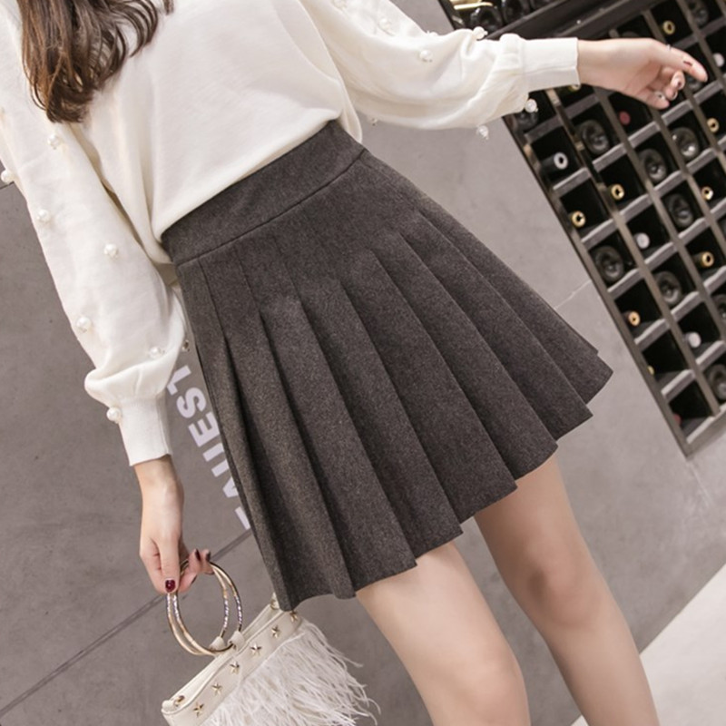 Womens Streetwear Black High Waist Harajuku Clothing Fashion Skirt 2019 Autumn Winter The New Solid Color Elastic Force Pleated