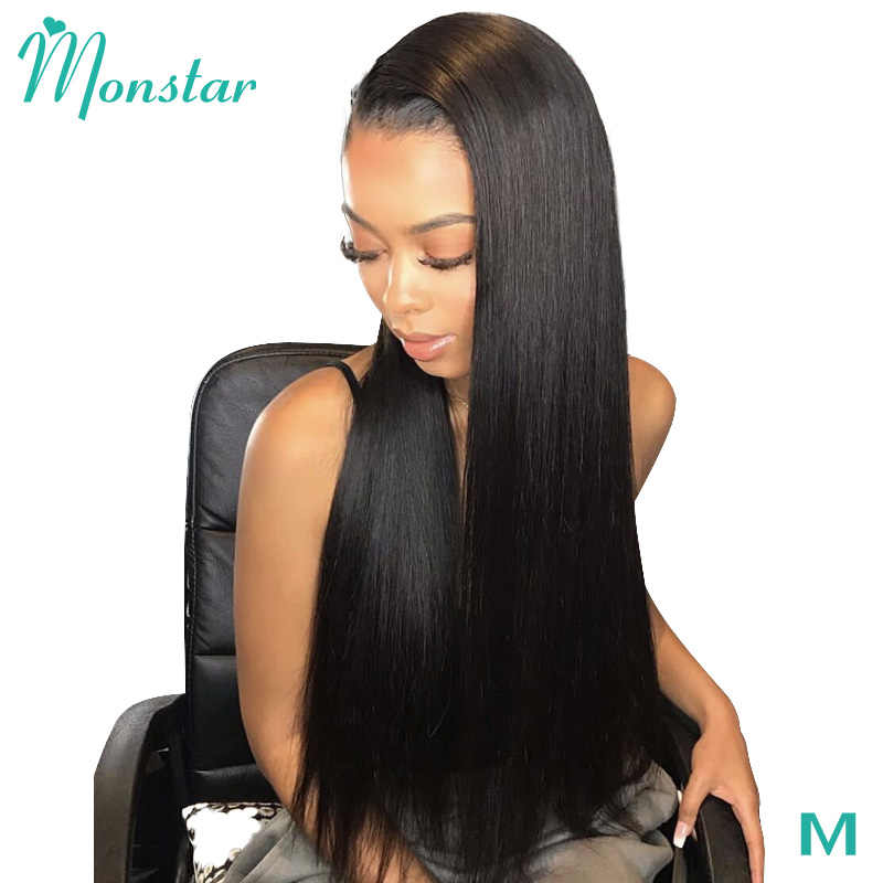 Monstar 13x6 Straight Lace Front Middle Ratio 8 - 26 inch Remy Natural Color Brazilian Glueless Human Hair Wigs with Baby Hair
