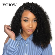 VSHOW 13x4 Mongolian Kinky Curly Lace Front Wigs With Baby Hair 150% Density 13x6 Natural Black Remy Human Hair Wigs стоимость