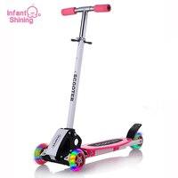 Comparar Scooter infantil brillante para niños, juguete para exteriores, seguridad en bicicleta para bebés, patinete plegable con ruedas Flash, Scooter para niños