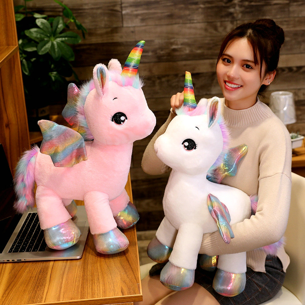 40cm ~1M Giant Unicorn Plush Toy Fantastic Rainbow Glowing Wings Stuffed Unicornio Doll Toys For Girl Unique Horn Colorful Feet