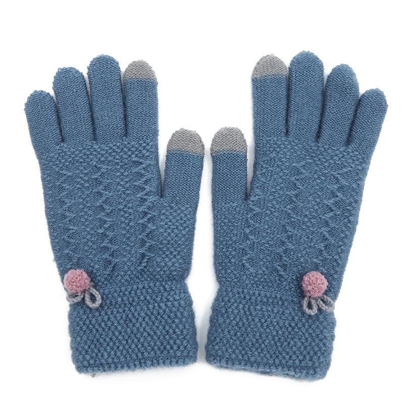 Cashmere Women's Winter Gloves Plus Velvet Thickened Warmth Full-finger Hand-knitted Ball Knitting Women's Riding Touch Gloves