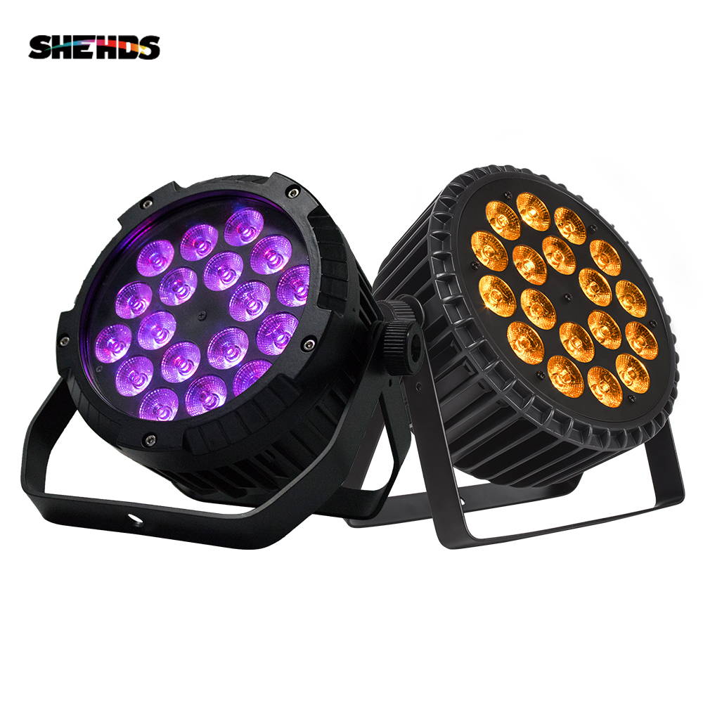 2PCS Waterproof 18x18W 6in1 RGBWA UV Led Par Light Outdoor Stage DMX Control DJ 18x12W 4in1 Par Can Pool Wash Wall SHEHD Party