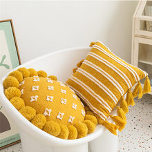 Yellow White Floral Tassels Pillow Cover With Pompom Decorative Cushion Cover Home Decor Throw Pillow Case Round 45x45cm/30x50cm