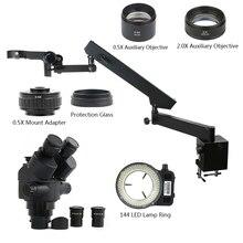 7 45x 3.5x 90x simul focal trinocular microscópio estéreo articulando braço pilar braçadeira com 0.5x 2.0x lente objetiva 0.5x adaptador