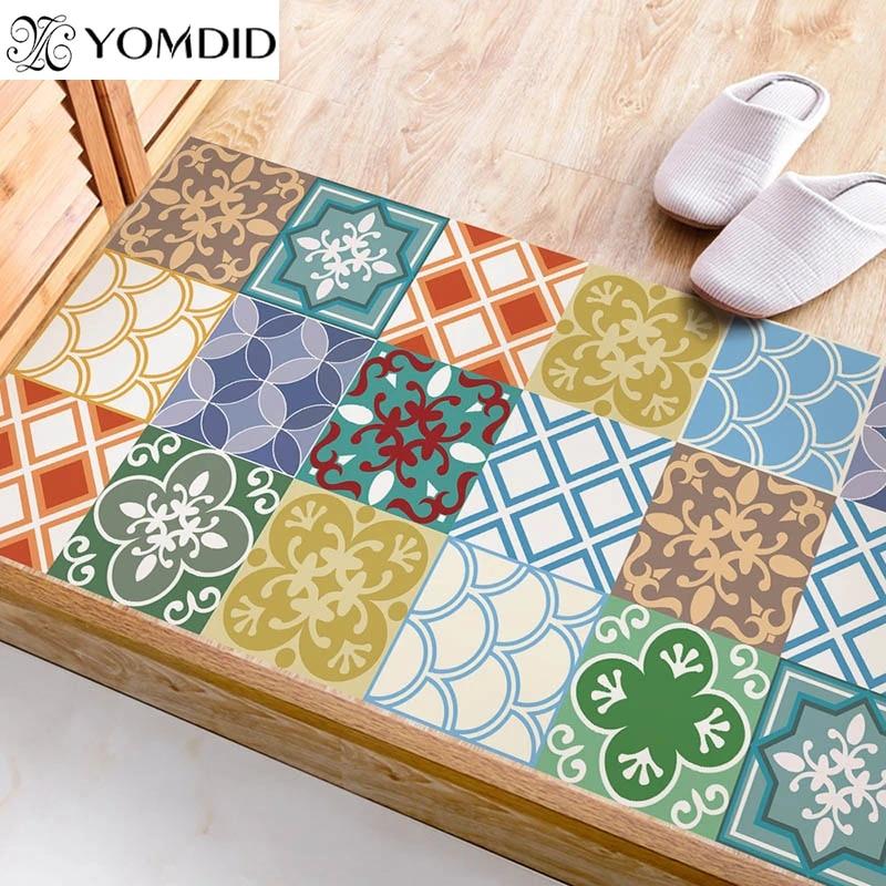 paillasson de porte de cuisine impermeable en pvc autocollants geometriques imprimes pour chambre a coucher tapis d escalier decoratif pour salon