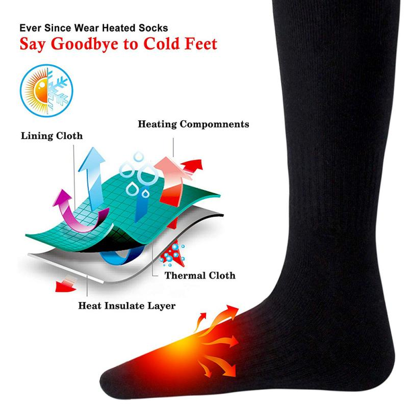 Унисекс, 1 пара, зимние носки с подогревом и обновлением USB, теплые носки с подогревом для катания на лыжах, кемпинга, велоспорта и мотоциклов+ 2 литиевых аккумулятора