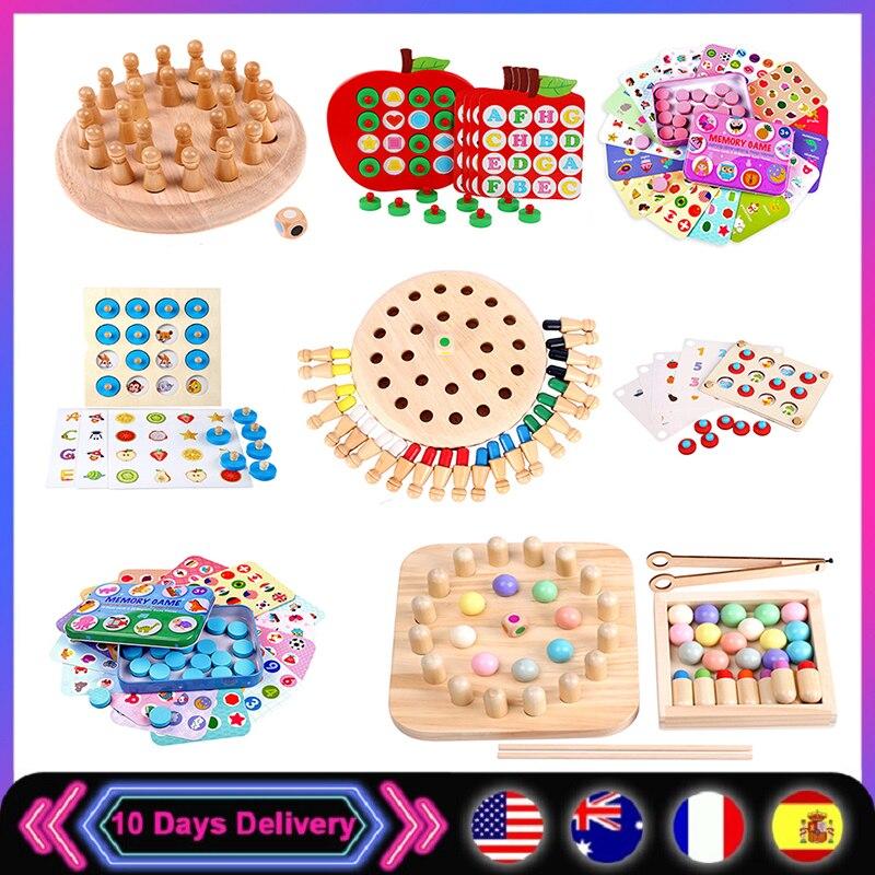 Детская деревянная палочка для запоминания, шахматы, веселая цветная игра, Настольная головоломка, развивающая игрушка, познавательные спо...