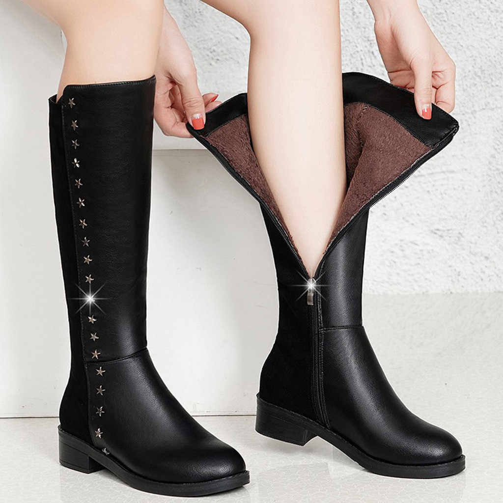 Perçin Kış Ayakkabı Kadın Avrupa Tarzı Saf Renk Yuvarlak Toe Slip-On Çizmeler Tıknaz Topuklu Vintage Bayanlar Ayakkabı botas feminina