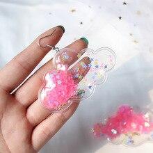 Милые Мультяшные облака, акриловые Висячие Серьги Висячие романтические Harajuku розовые серьги со звездами для женщин и девушек, милые вечерние ювелирные изделия