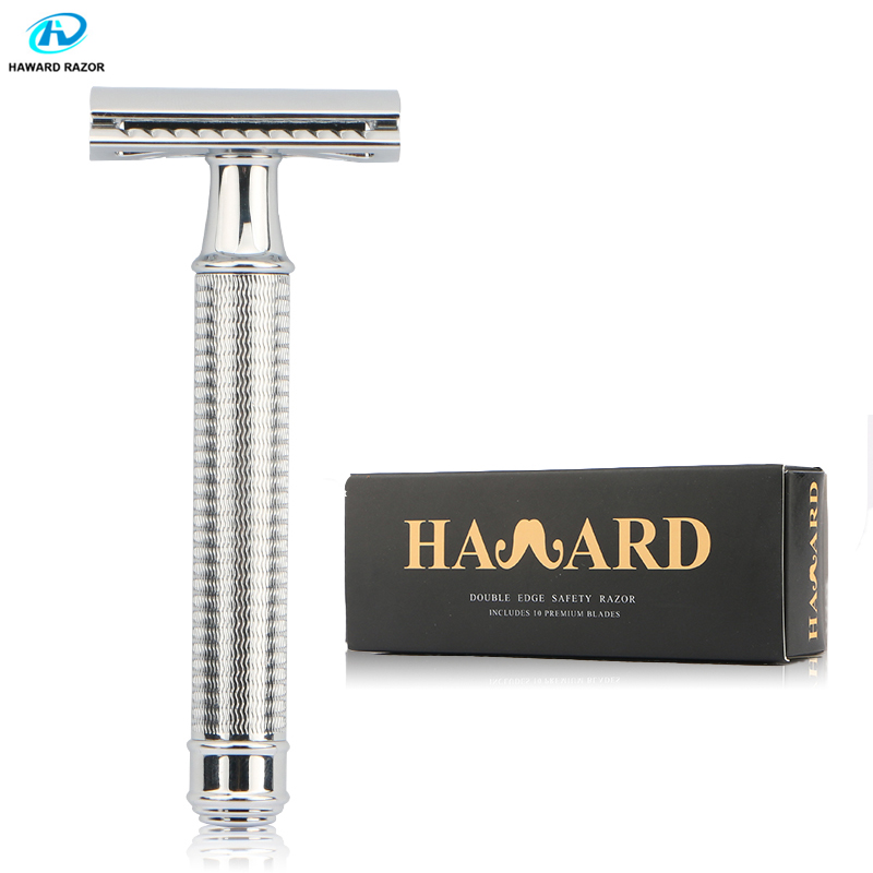 HAWARD Safety Razor Men's Double Edge Shaving Razor Classic Hair Removal Shaver Manual Shaver Zinc Alloy Head With 10 Blades