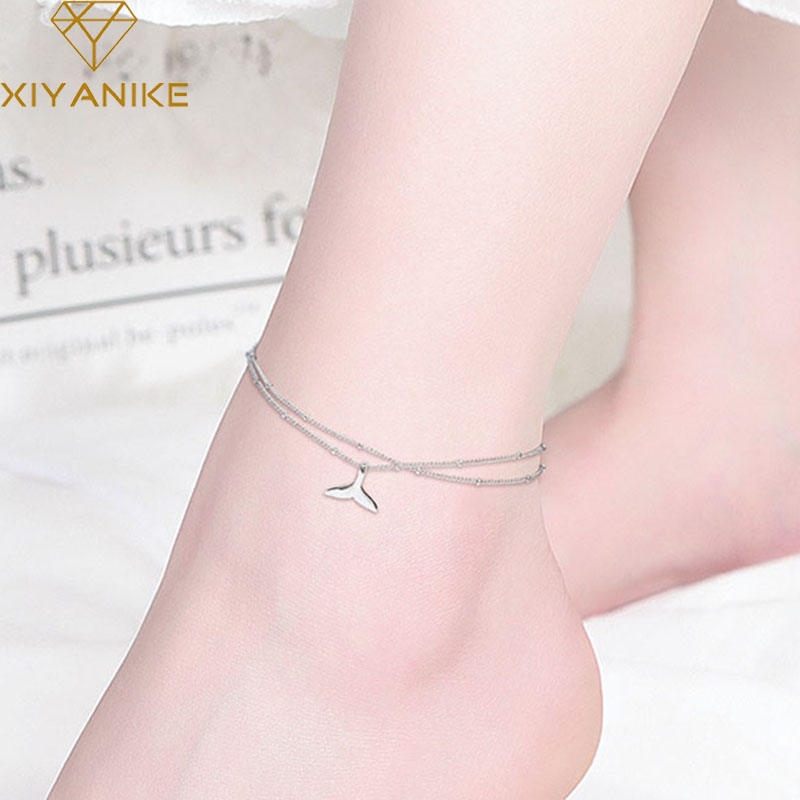 XIYANIKE 925 Sterling Silver Charm Anklet Bracelet for Women Trendy Simple Multilayer Fish Pendant Handmade Party Jewelry Gifts