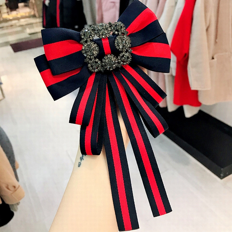Korean Vintage Big Crystal Fabric Exaggeration Bow Tie For Women Simple Retro Fashion Stripe Cloth ShirtAccessories