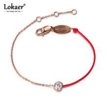 Lokaer-Pulseras clásicas de acero y titanio para mujer, brazaletes con abalorios de cristal de CZ para mujer, cadena de cuerda roja y pulsera de eslabones, joyería B17061