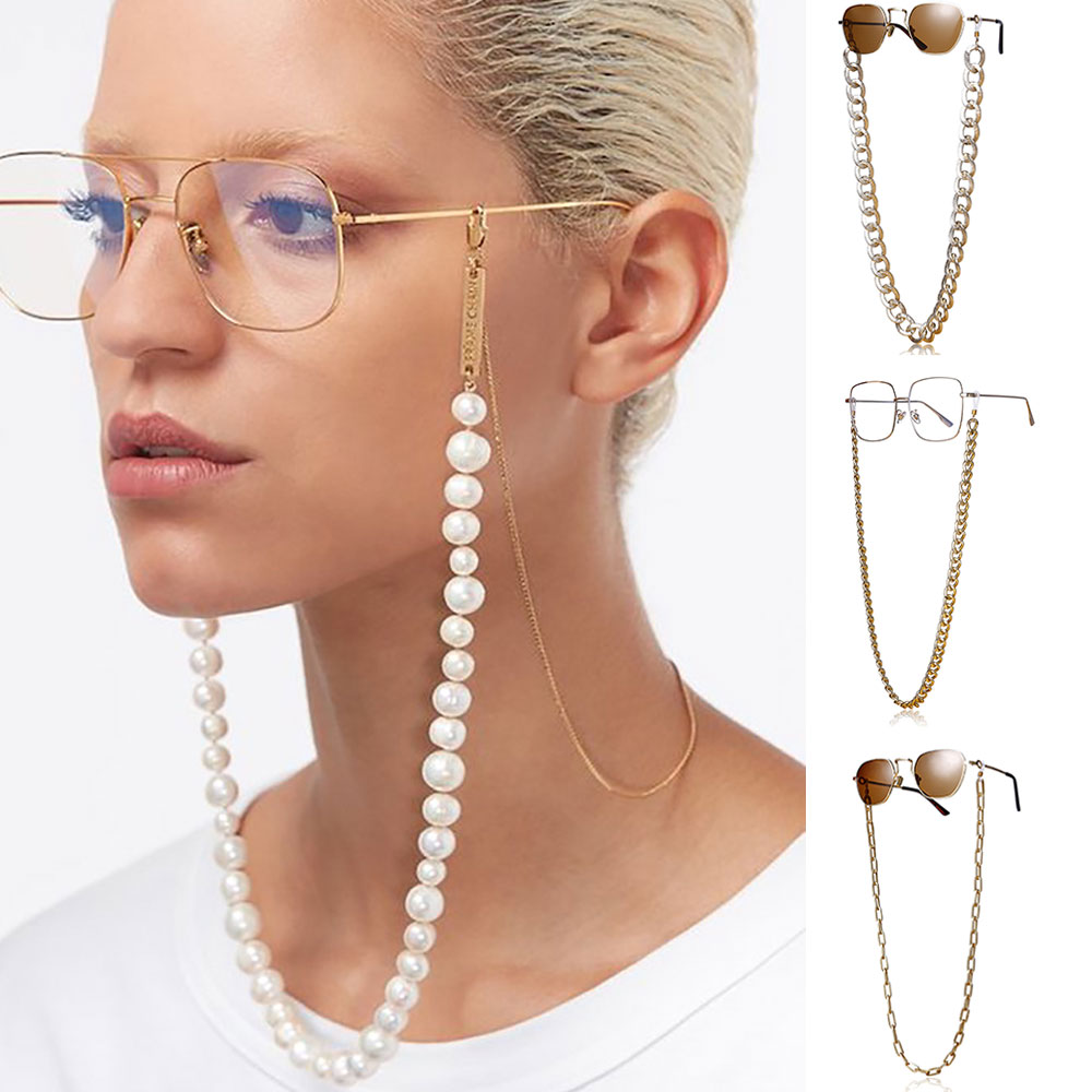 2020 Chic Link Chain Pearl Beads Glasses Chains For Women Metal Sunglasses Cords Casual Cuban Chunky Sunglasses Necklace Jewelry
