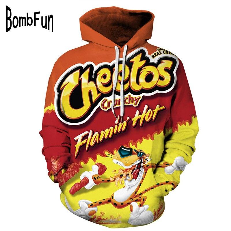 BombFun Men Hoodies Funny 3d Sweatshirts Men Hoodie Cheetos Print Hooded Couple Tracksuits Women Hoodies High Quality Pullover
